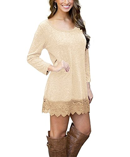 (MRstriver Women's Long Sleeve A-line Lace Stitching Trim Casual Dress BeigeLarge)
