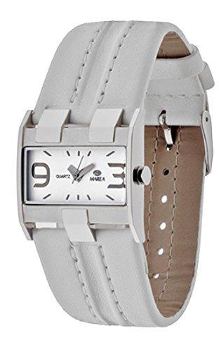 B34104/2 Reloj Marea Señora, analógico, caja de acero, esfera blanca, correa de cuero blanca, garantía 2 años.: Amazon.es: Relojes