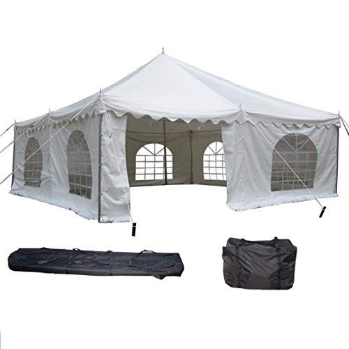 DELTA Canopies 20'x20' PVC Pole Tent - Heavy Duty Wedding Party Canopy Shelter White - with Storage Bags ()