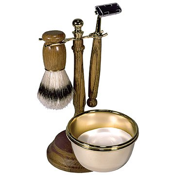 Kingsley Wood & Chrome Finish 4 Piece Shaving Set