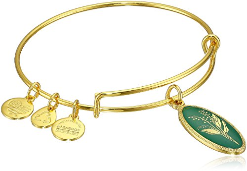 Alex and Ani Purity of The Heart Lily of The Valley Yellow Gold Expandable Wire Bangle Bracelet