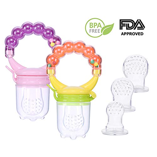 Baby Fruit Feeder Pacifier with 3 Different Size Silicone Teats,for 3 Months+ Baby,Infant Teething Pacifier Toy Rattle Teether,2 Pack