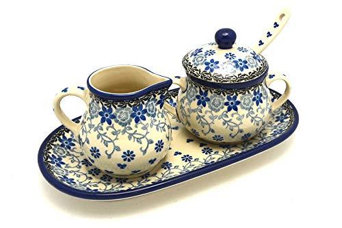 Polish Pottery Cream & Sugar Set with Sugar Spoon - Silver Lace (Ceramika Polish Artystyczna Stoneware)