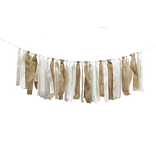 Lace Garland, Lace Rag Tie Garland Burlap Banner For Baby Shower Weddig Backdrop Party Decor Shabby Chic Banner Boho Decor 4Ft -