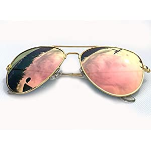 Upper.Up Fashion Pilot Sunglasses Unisex Men & Women - 100% UV400 Eye Protection (Gold Pink, Pink)