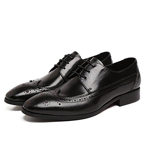 GRRONG Zapatos De Cuero De Los Hombres Punta Hueca Con Un Banquete Transpirable Uso Muy Cómodo Black