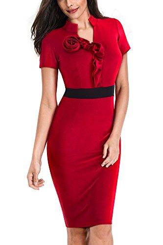 HOMEYEE Damen Elegantes V-Ausschnitt Rüschen Business Kleid B439
