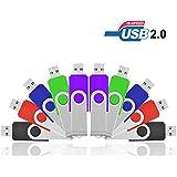 Flash Drives 8GB, HKUU Pack of 10 USB 2.0 Memory Sticks Swivel Thumb Disk Pen Drives Fold Data Storage (Multi-Color)