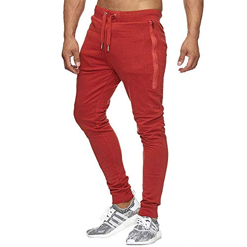 Dainzuy Mens Long Pants Workout Sweatpants Active Wear Stretch Sport Joggers Workout Gym Running Trousers Red – Go4CarZ Store