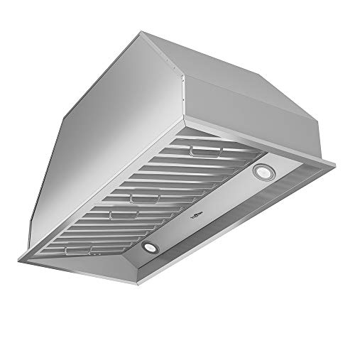 Ancona AN-1313 Chef Series Built-in 34″ Ducted 600 CFM Insert Range Hood with LED Lights, Silver