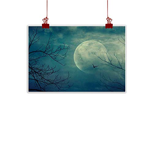 Davishouse Horror House Chinese Classical Oil Painting Halloween with Full Moon in Sky and Dead Tree Branches Evil Haunted Forest Print for Living Room Bedroom Hallway Office 24