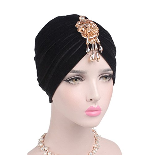 Women Velvet Indian Cap Stretch Turban Hat Vintage Crystal Pendant Chemo Cap (Black)