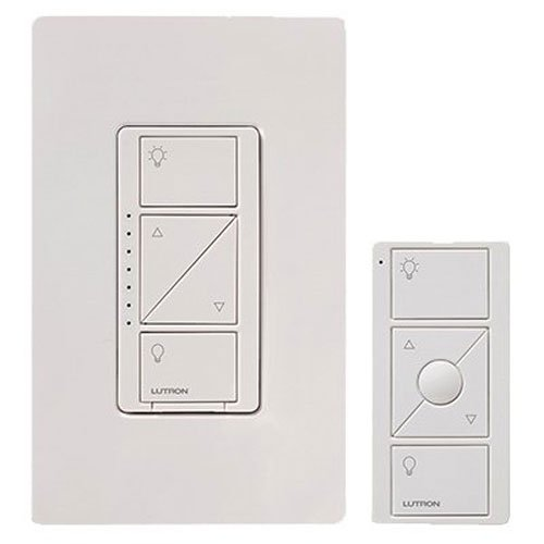 Lutron Caseta Wireless Smart Lighting Dimmer Switch and Remote Kit for Wall & Ceiling Lights, P-PKG1W-WH, White (Ceiling Fan Light Wiring Dual Wall Switch)