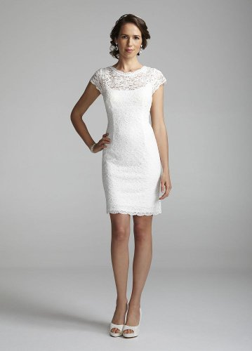 Short Lace Ivory Wedding Dress - Ocodea.com