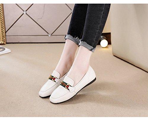 de Pequeña Baja Cómoda Plana bajo Blanco Zapatos de Zapatos Ayuda Cuadrada de Cabeza de Mujer Moda Frijol Tacón O7qT8qwaX