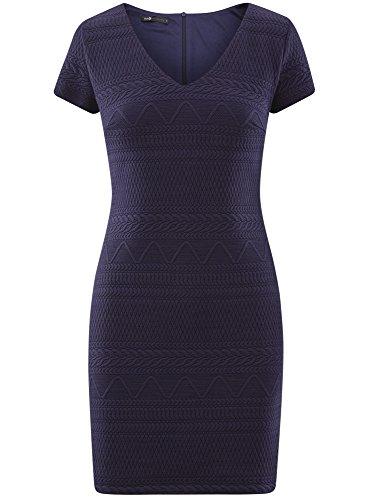 en en oodji Bleu 7900n Col Collection V Textur Robe avec Femme Tissu CwgxTqn