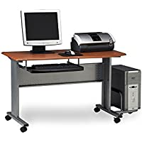Mobile Computer Worktable Medium Cherry/Metallic Gray Dimensions: 47.25'W x 23.5'D x 29'H Weight: 49 lbs.