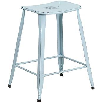 Flash Furniture 24u0027u0027 High Distressed Green-Blue Metal Indoor-Outdoor Counter Height  sc 1 st  Amazon.com & Amazon.com: Adeco 30