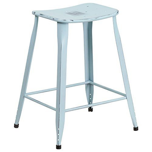 Flash Furniture 24'' High Distressed Green-Blue Metal Indoor-Outdoor Counter Height Saddle Comfort Stool (Metal Backless Counter Stools)