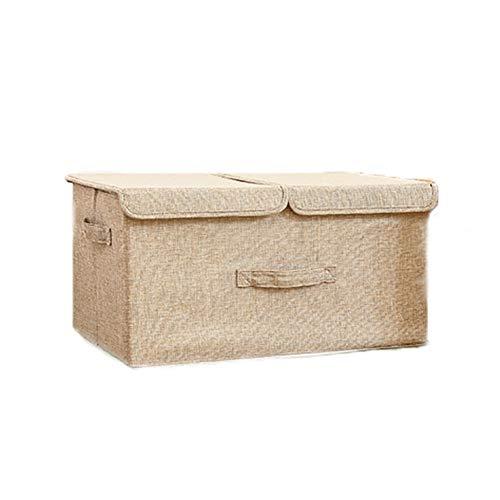 Tejido de Lino cjas, con Tapas Doble & Mango, Plegable Cubos de Almacenamiento Cubo Caja contenedores para Oficina Vivero...