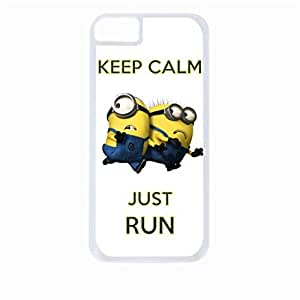 Keep Calm Just Run - despicable me - Minions - Hard White Plastic Snap - On Case with Soft Black Rubber Lining-Apple Iphone 4 - 4s - Great Quality!