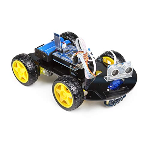 UCTRONICS Smart Bluetooth Robot Car Kit - UNO R3 for Arduino, Line Tracking, Ultrasonic Sensor, HC-05 Bluetooth, L293D Motor Shield, IR Remote Control, Mobile APP - Charger Included by UCTRONICS