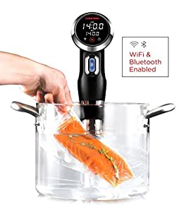 Chefman Sous Vide Immersion Circulator w/Wi-Fi, Bluetooth & Digital Interface Includes Connected App for Guided Cooking, Black