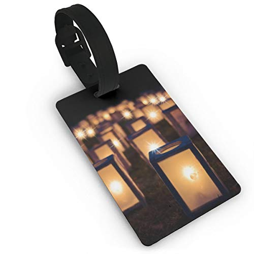 Yunshm Lights Christmas Night Dark Lantern Candles Illuminated PU Leather Luggage Tags Suitcase Labels Bag Travel Accessories