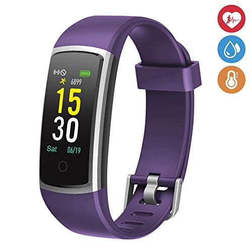 moreFit Fitness Tracker, Waterproof Activity Tracker Smart Watch with Heart Rate Monitor, Wearable Smart Wristband Pedometer Watch with Sleep Monitor for Woman Men Kids,Purple