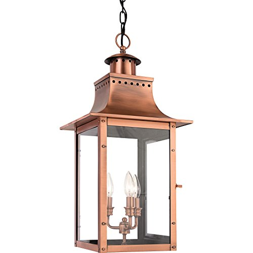 - Quoizel CM1912AC 3-Light Chalmers Outdoor Lantern in Aged Copper
