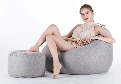 豆袋ソファ 大人子供怠惰なソファ ビーズクッション リネン素材 プレミアム 快適 無料の着替えバッグ,グレー,XL+Footstool