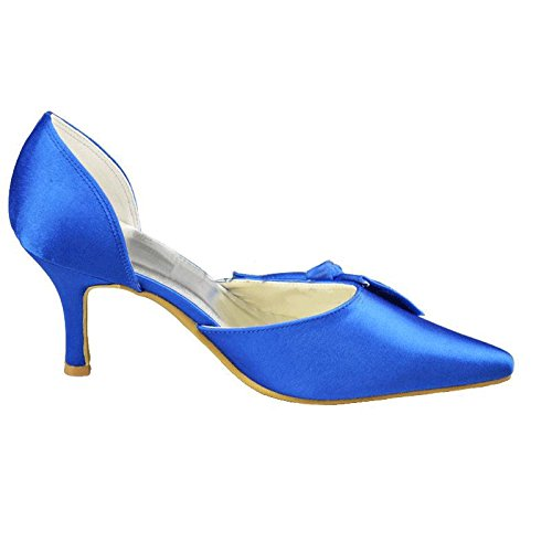 Evening Shoes Prom Blue Party Wedding Formal Satin Pumps MZ1193 Women's Kevin Bridal Fashion Pointed Toe OPvTawq