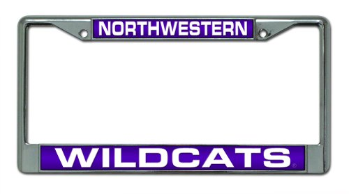 - Rico Industries NCAA Northwestern Wildcats Laser Cut Inlaid Standard Chrome License Plate Frame