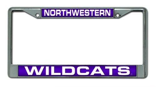 Rico Industries NCAA Northwestern Wildcats Laser Cut Inlaid Standard Chrome License Plate Frame