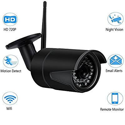 Security Camera 720p Home Camera Wireless Wifi IP Security Surveillance Camera System with Motion Detection Night Vision Indoor Outdoor Surveillance Bullet camera (Black) by Galwad