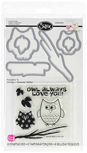 Sizzix Framelits Dies with Clear Stamps, Autumn Owls, 6/Pack