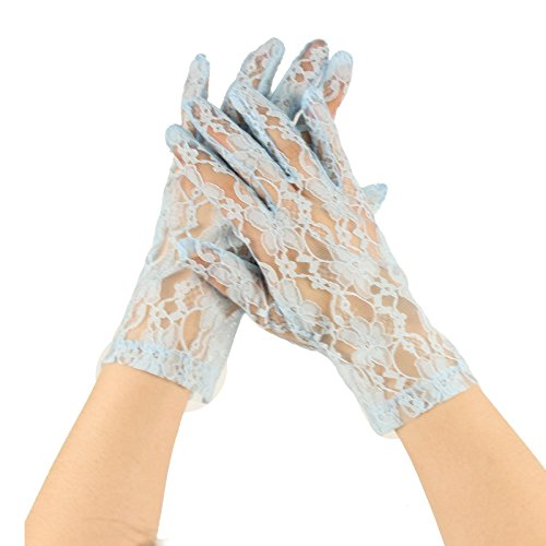 Sexy Floral Sheer Lace Tea Party Vintage Style Short Wrist Dressy Gloves Lt. Blue