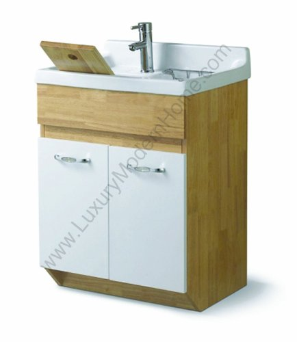 sink ALEXANDER 24'' OAK Utility Sink - OAK Modern Mop Slop Tub Deep Sink Ceramic Laundry Room Vanity Cabinet Contemporary Hardwood Hard wood by www.LuxuryModernHome.com