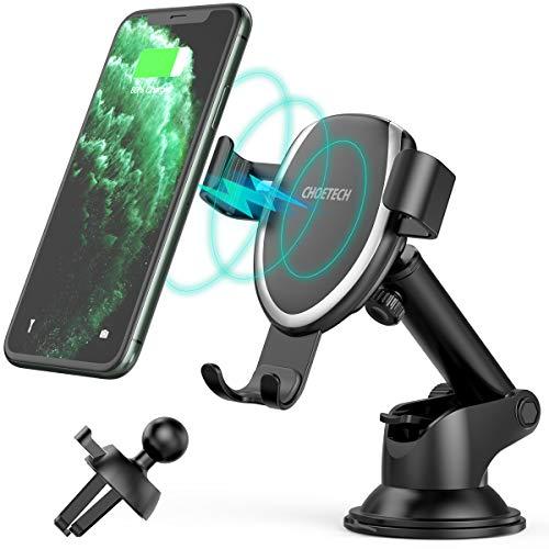 CHOETECH Cargador Inalámbrico Coche, Qi Fast Wireless Car Charger Soporte Móvil, 10W para Samsung S20/S10/S9/S9+/S8/S8…