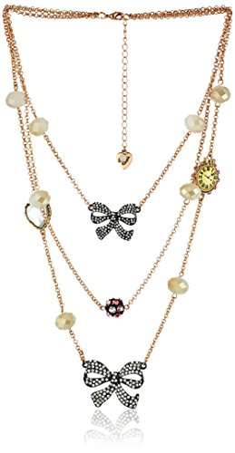 Betsey Johnson Women's Oversized Illusions Bow Flower Long Necklace Crystal Strand -