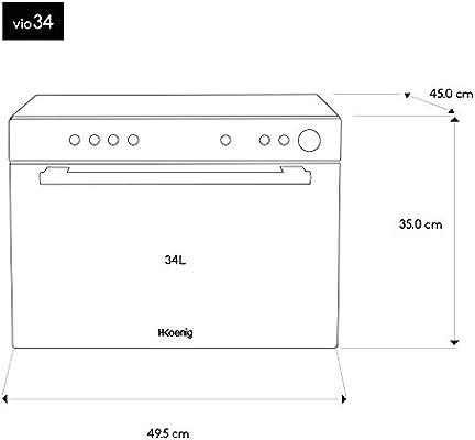 H.Koenig Horno Microondas con Convección y Grill, 34 litros, 2050 ...