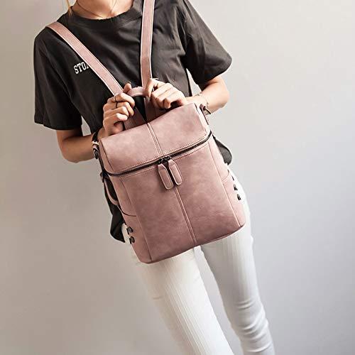 Sac à dos Rivet bandoulière Bolsas Pink portable à pour Femmes ordinateur Sac PU Multifonction dos à en Rivet cuir VHVCX Zipper épaule Mochila Sac Rucksack Uq0H0