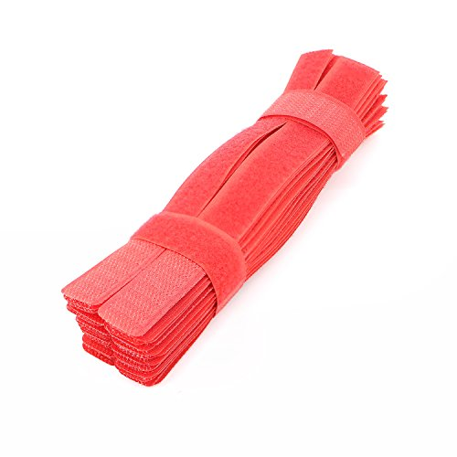 Pasow 50pcs Cable Ties Reusable Fastening Wire Organizer Cord Rope Holder 7 Inch (Red)