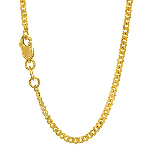 14k Gourmette Chain (JewelStop 14k Solid Yellow Gold 2 mm Gourmette Chain Necklace, Lobster Claw Clasp - 22
