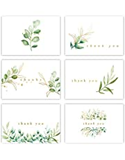 Gooji 4x6 Golden Greenery Thank You Cards (Bulk 36-Pack) Gold Foil, Matching Peel-and-Seal White Envelopes | Assorted Set, Watercolor, Colorful Graphics | Birthday Party, Baby Shower, Weddings