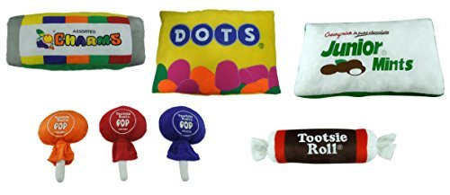 7 Inch Assorted Tootsie Roll Stuffed Plush  Tootsie Roll  Dots  Junior Mints  Lollipop And Charms   Ship In A Set Of 5