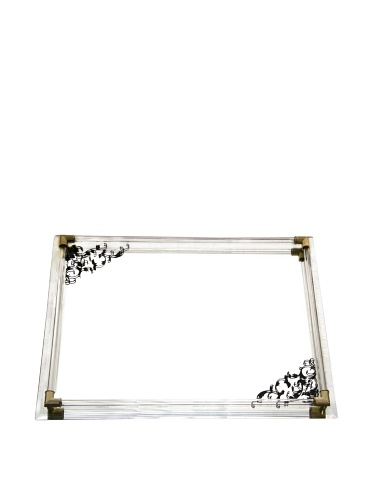 Accents by Jay Mirror Vanity Tray with Black Scroll Design and Gold Accents,12 by 9-Inch