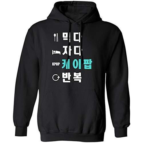 Eat Sleep K-Pop Repeat Shirt Hangul Korean T-Shirt (Hoodie;Black;2XL) -