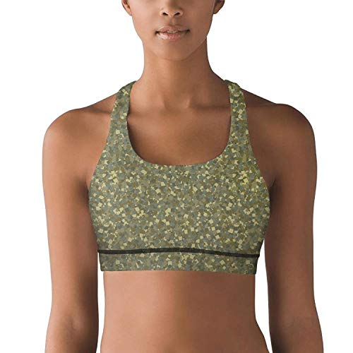 (VVTE56E Sexy Green Military Diamond camo Sport Bras Yoga Long Training for Womens)