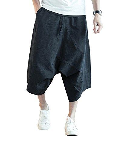 Lin Capri En 4 Respirant Minetom Pantacourt 3 Été Cargo Shorts Noir Lâche Bermudas Confortable Pants Pantalon Elastique Sarouel Large Baggy Oversize Homme Solide gnYY4wWqI